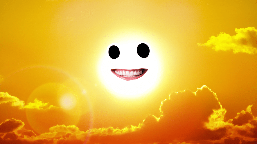 Sun in clouds with goofy face