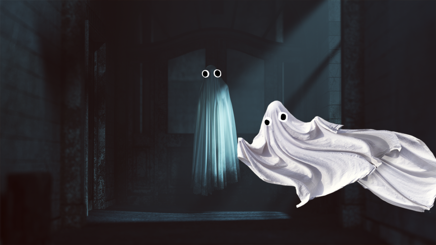 Spooky room with ghosts
