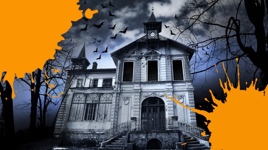 Spooky house with orange splats