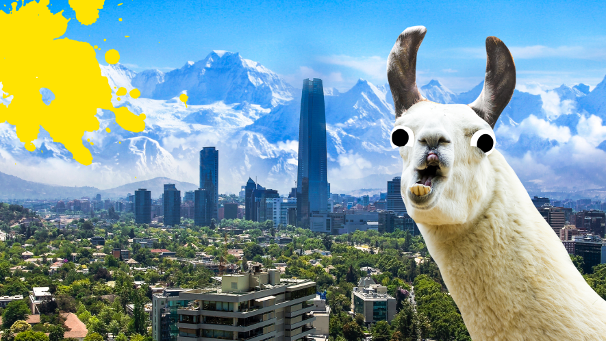 Derpy llama and South American City background with yellow splat