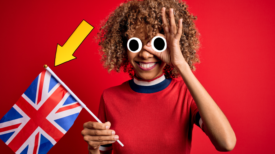 Woman waving UK flag on red background with arrow pointing to flag