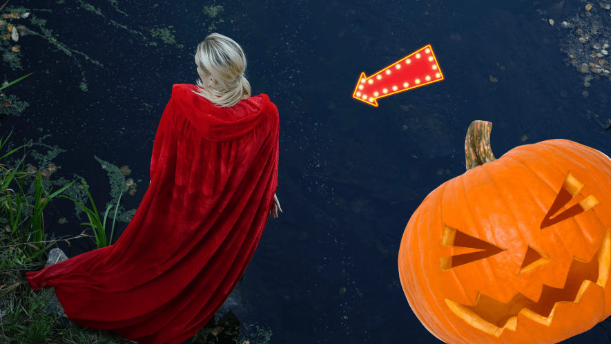Woman in red cloak with Beano pumpkin and arrow