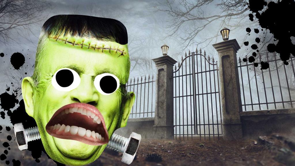 Frankenstein's monster near a graveyard