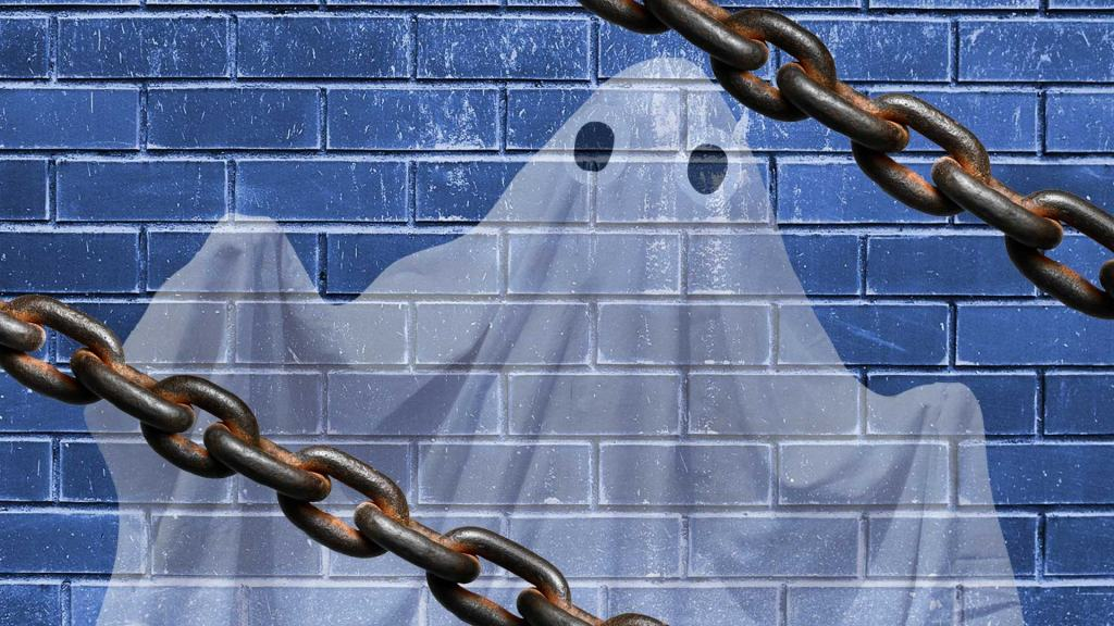 A ghost surrounded by chains
