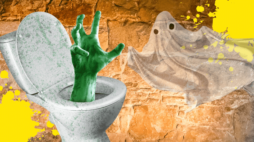 A spooky toilet and a ghost
