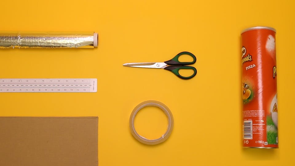 You will need - foil, ruler, tape, cardboard, tube, skewer, paper, beads, scissors