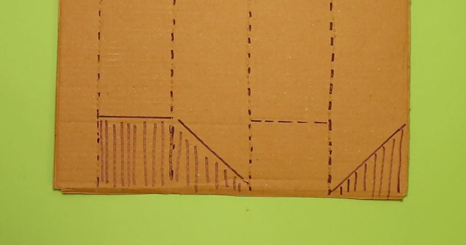 Rotate your cardboard and draw the same shapes, in a slightly different order (Square, triangle, square, triangle)