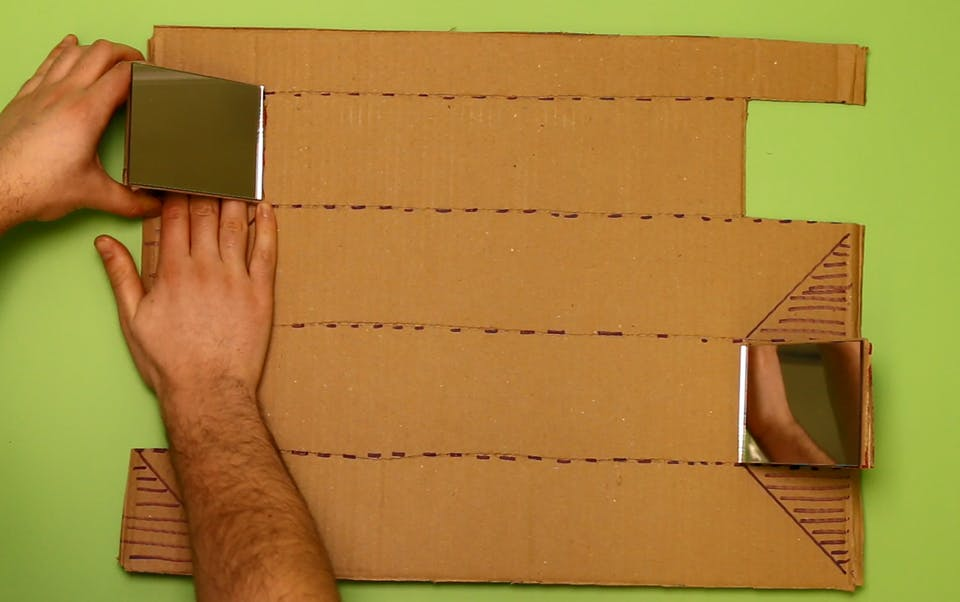 Then attach them to the cardboard