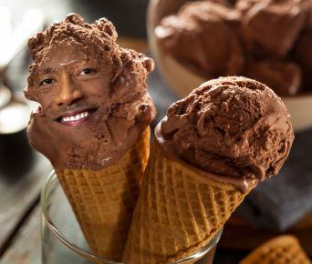the rock on a chocolate ice cream