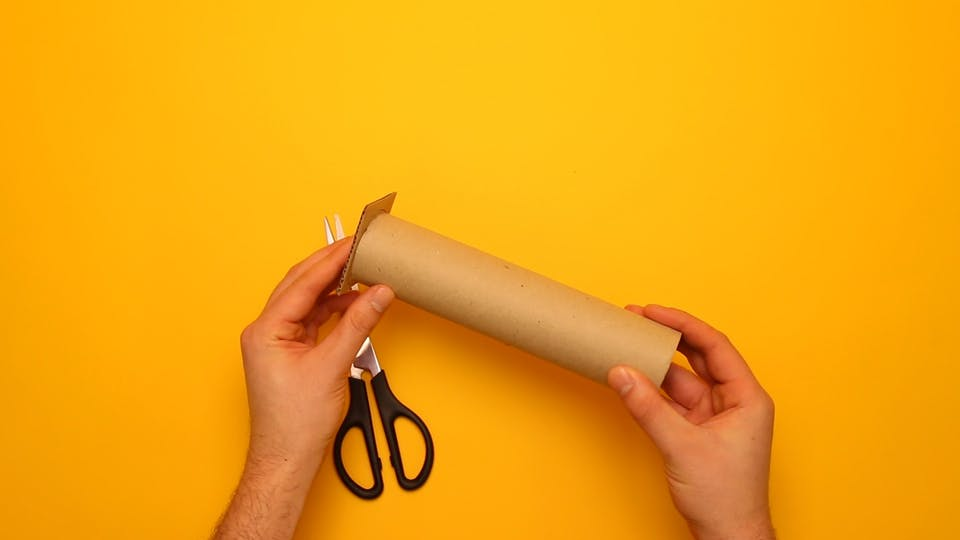 Cut up your cardboard to cover the end of the kitchen roll tube