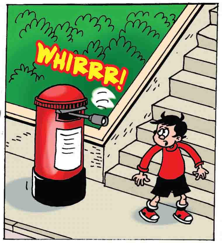 The postbox whirrs