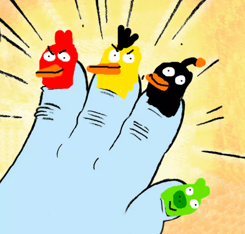 a yeti hand with angry birds painted on his nails