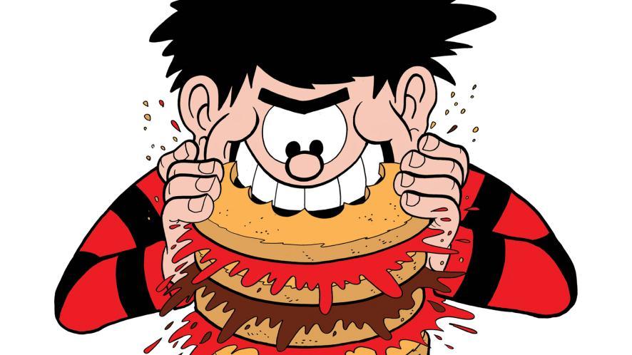 Dennis the Menace eating a burger