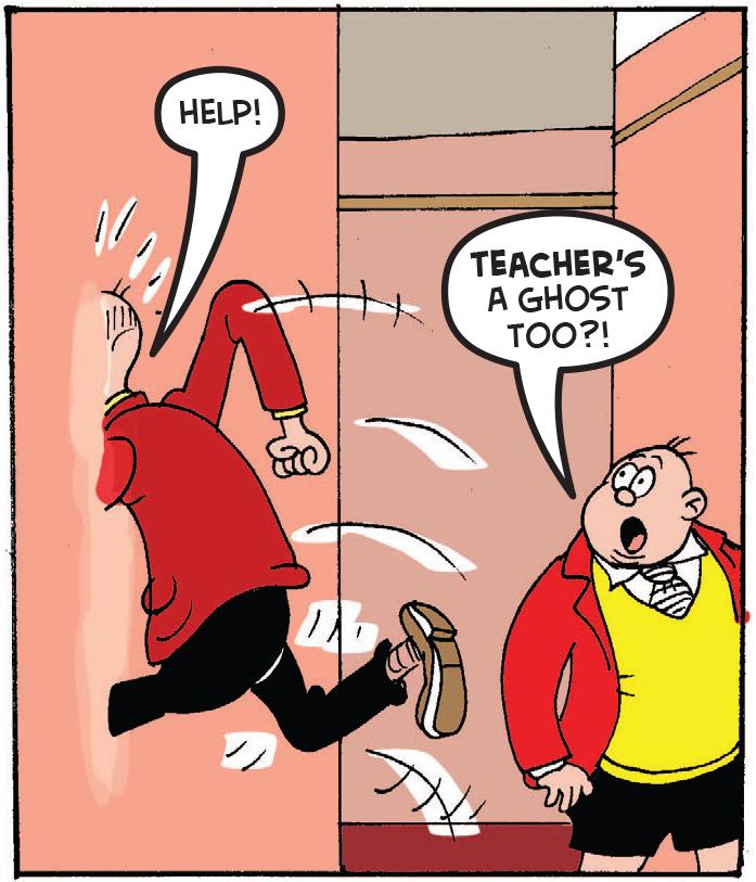 Teacher jumps through wall