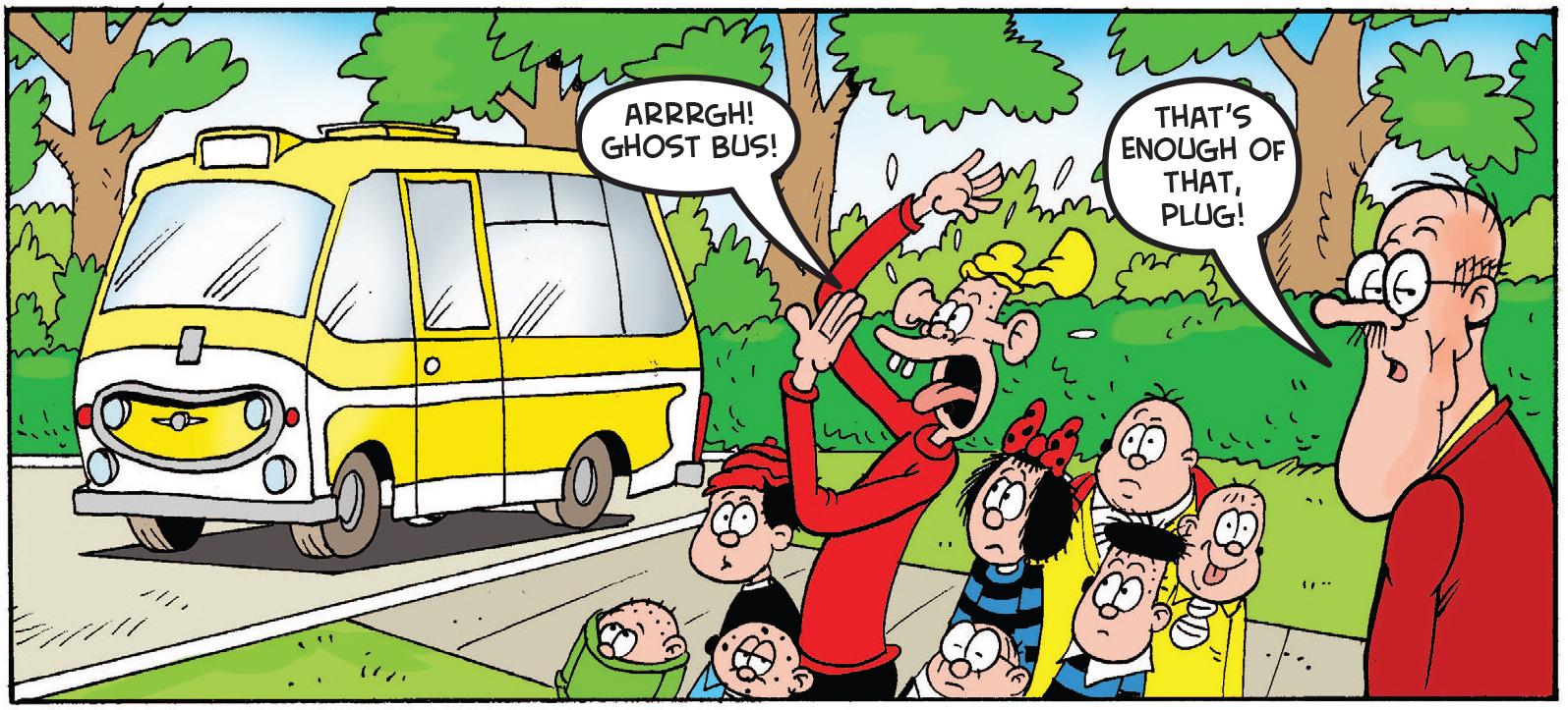 Plug sees the school bus