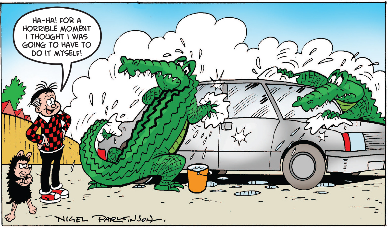 Roger makes the gators clean the car