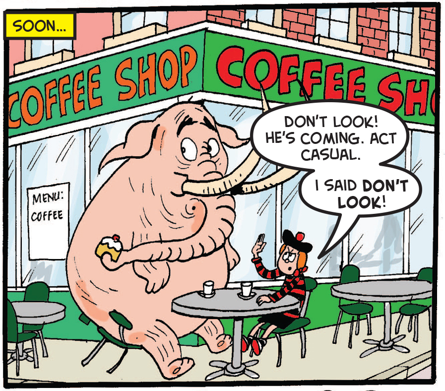 Minnie and the mammoth wait at a coffee shop