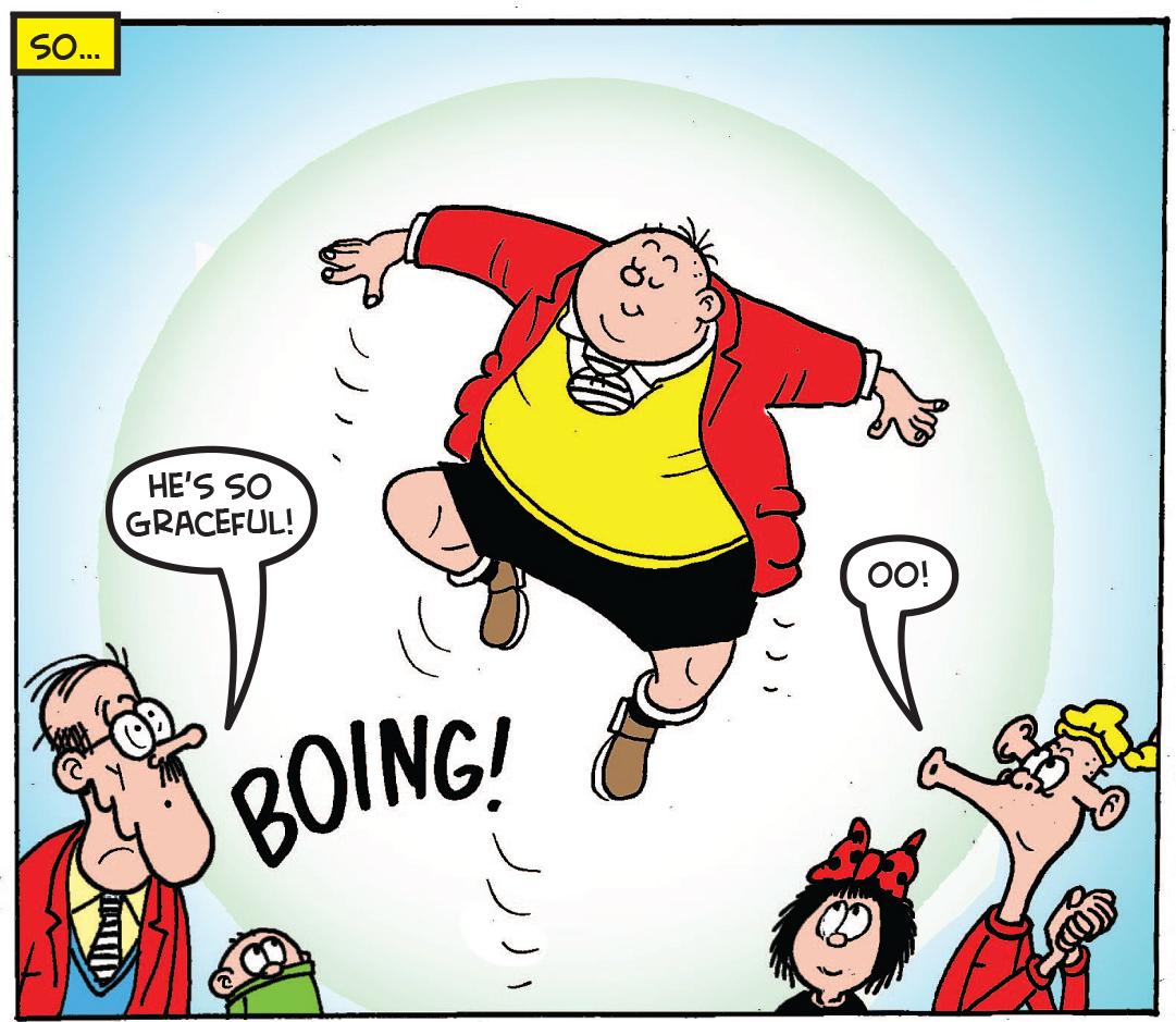 Fatty tests the trampoline