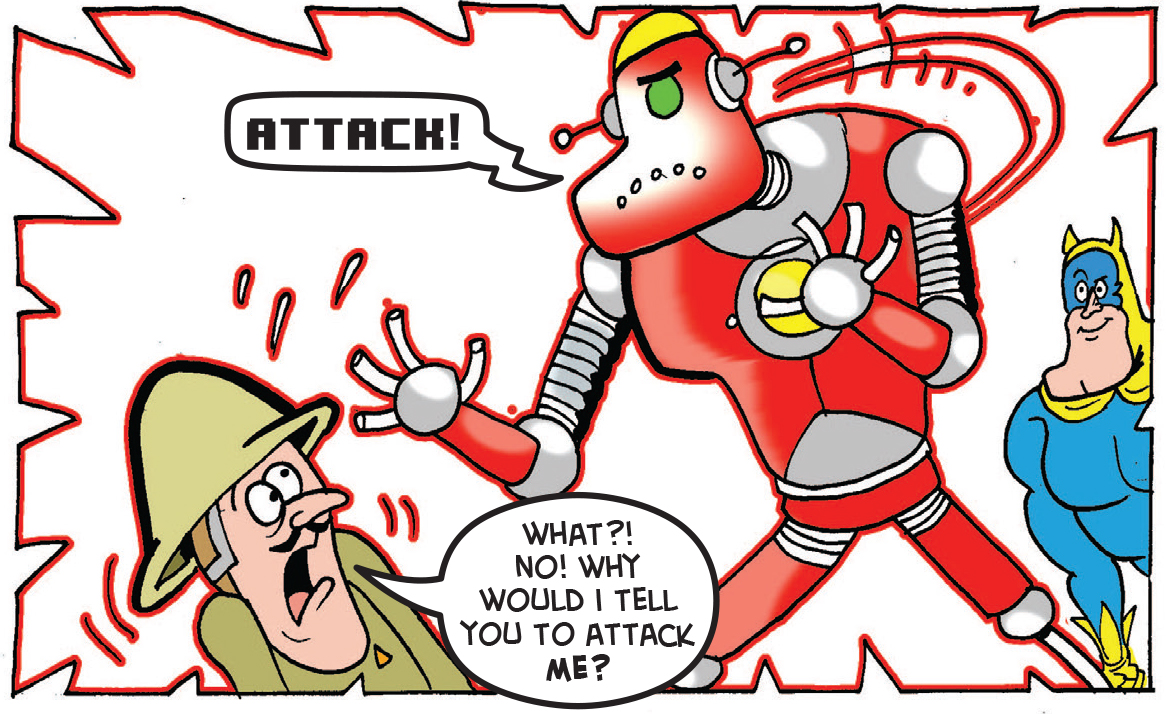 The robot turns on General Blight