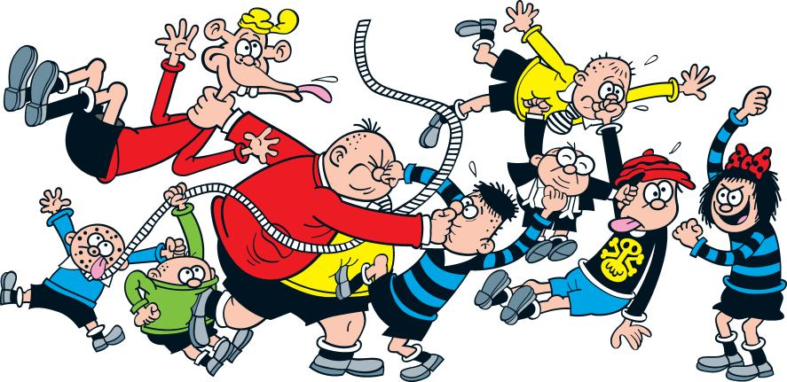 The Bash Street Kids in a classic rough and tumble tussle