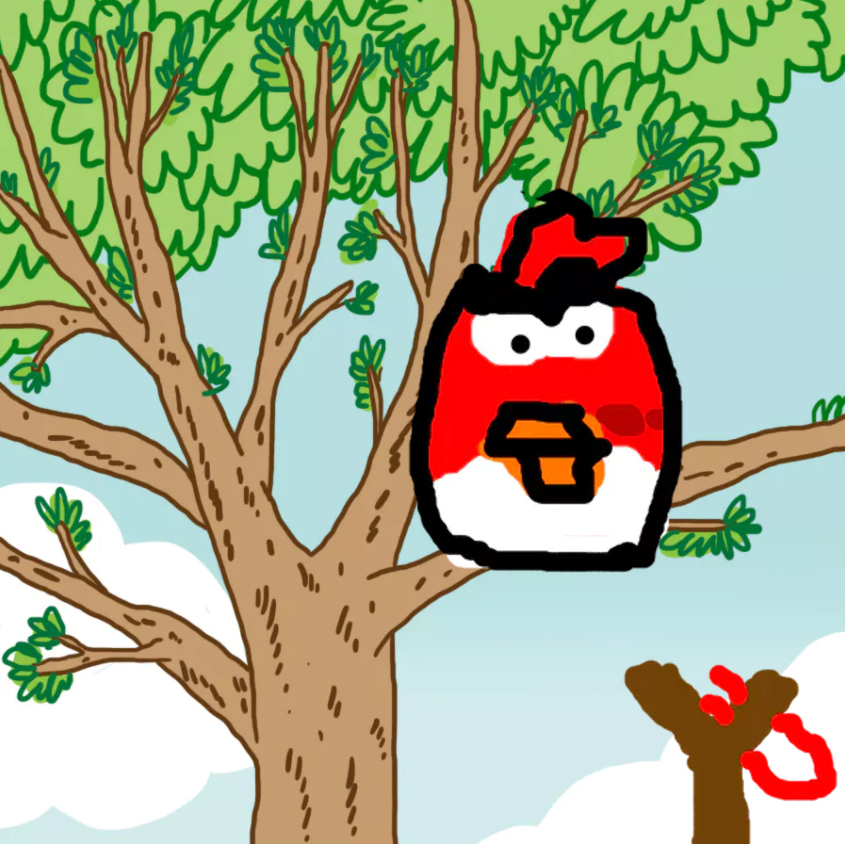 An Angry Bird stuck in a tree