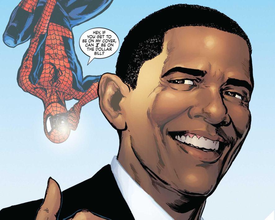 President Barack Obama and Spider-Man