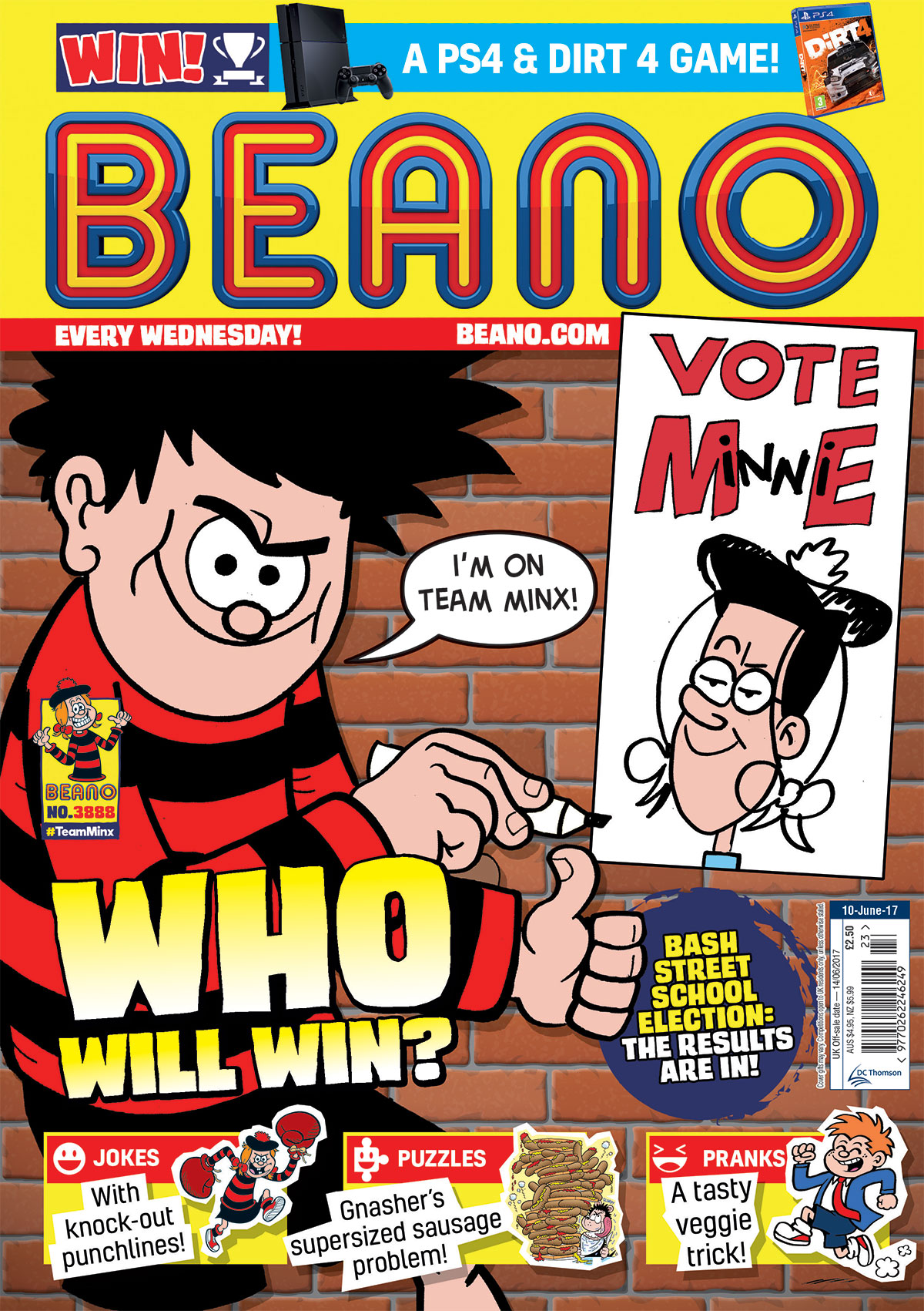 Beano No. 3888, June 10th 2017, Dennis the Menace and Gnasher, election, Bash Street