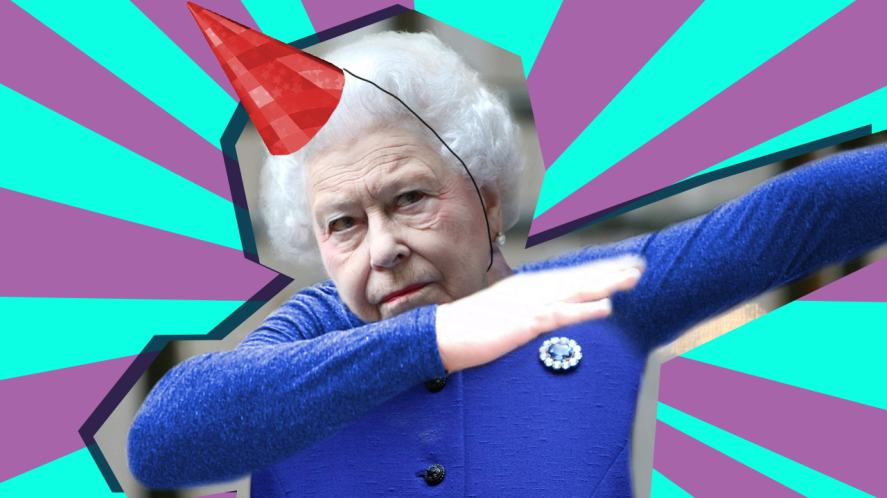 Party Queen dabbing on her birthday