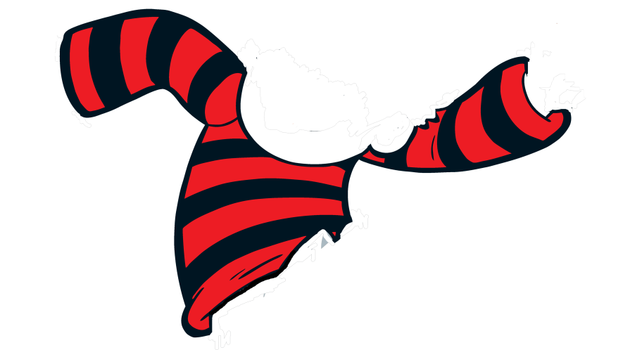 A red and black stripe jumper