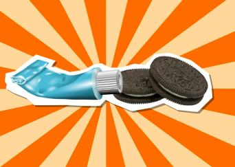 Oreos covered in toothpaste!