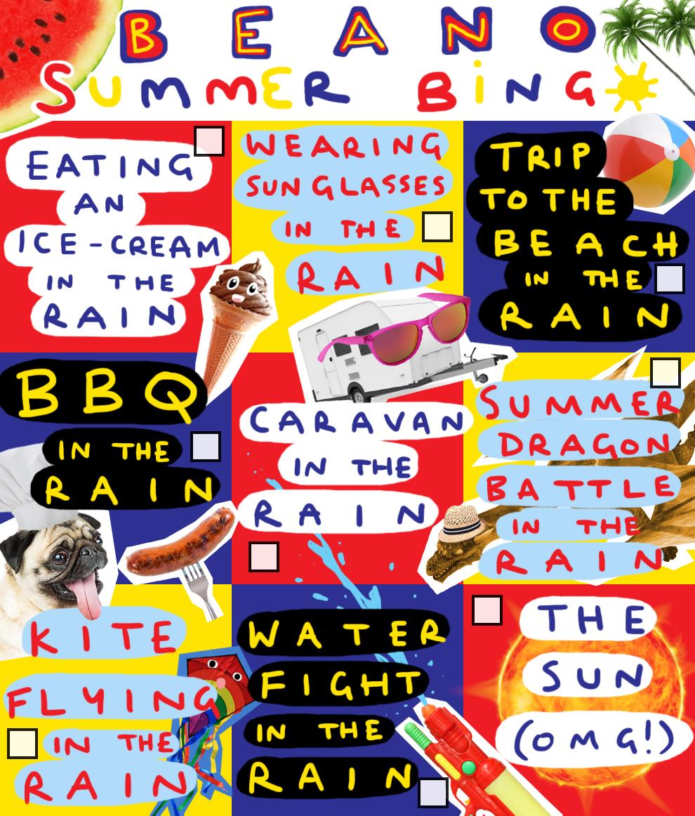Beano Summer Bingo Card