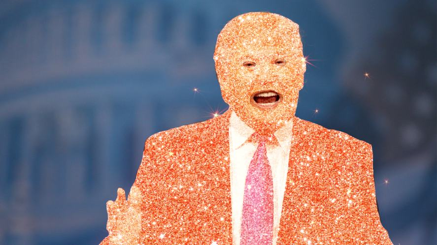 Someone covered in glitter