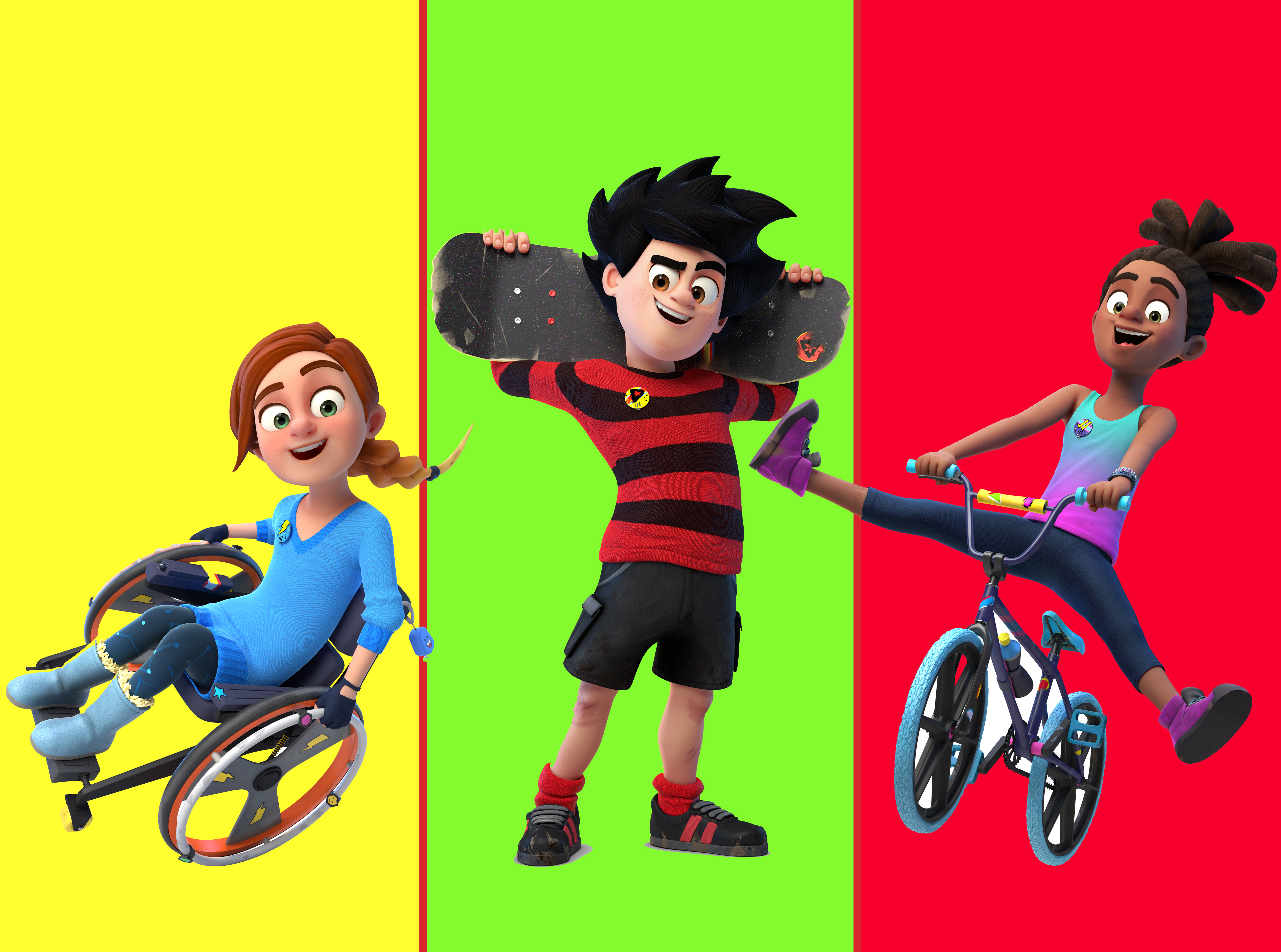 Rubi, Dennis and JJ from Dennis and Gnasher Unleashed