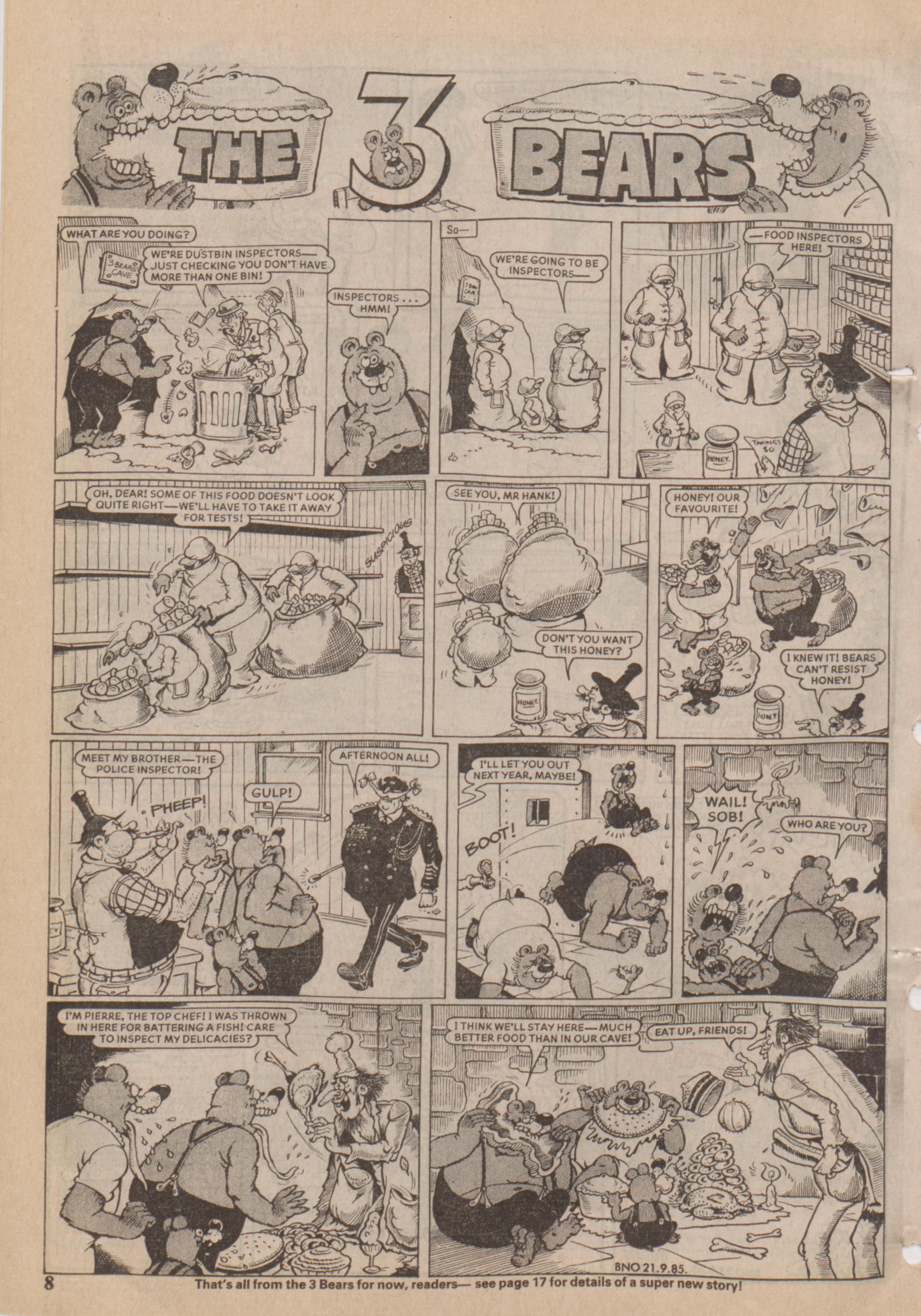 The 3 Bears from Beano No. 2253, 21.9.1985