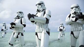 Stormtroopers on the beach from Rogue One
