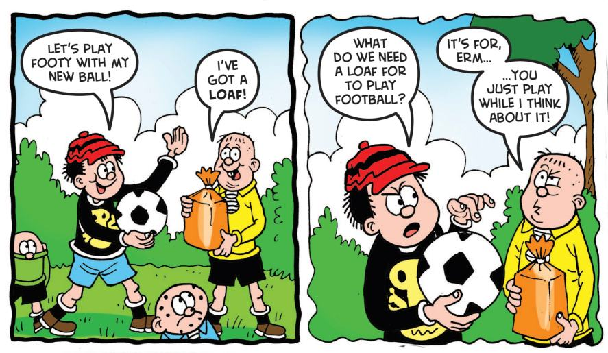 The Bash Street Kids play football in Beano