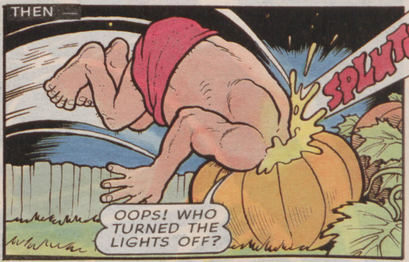 Clumsy Dan knocks into a pumpkin