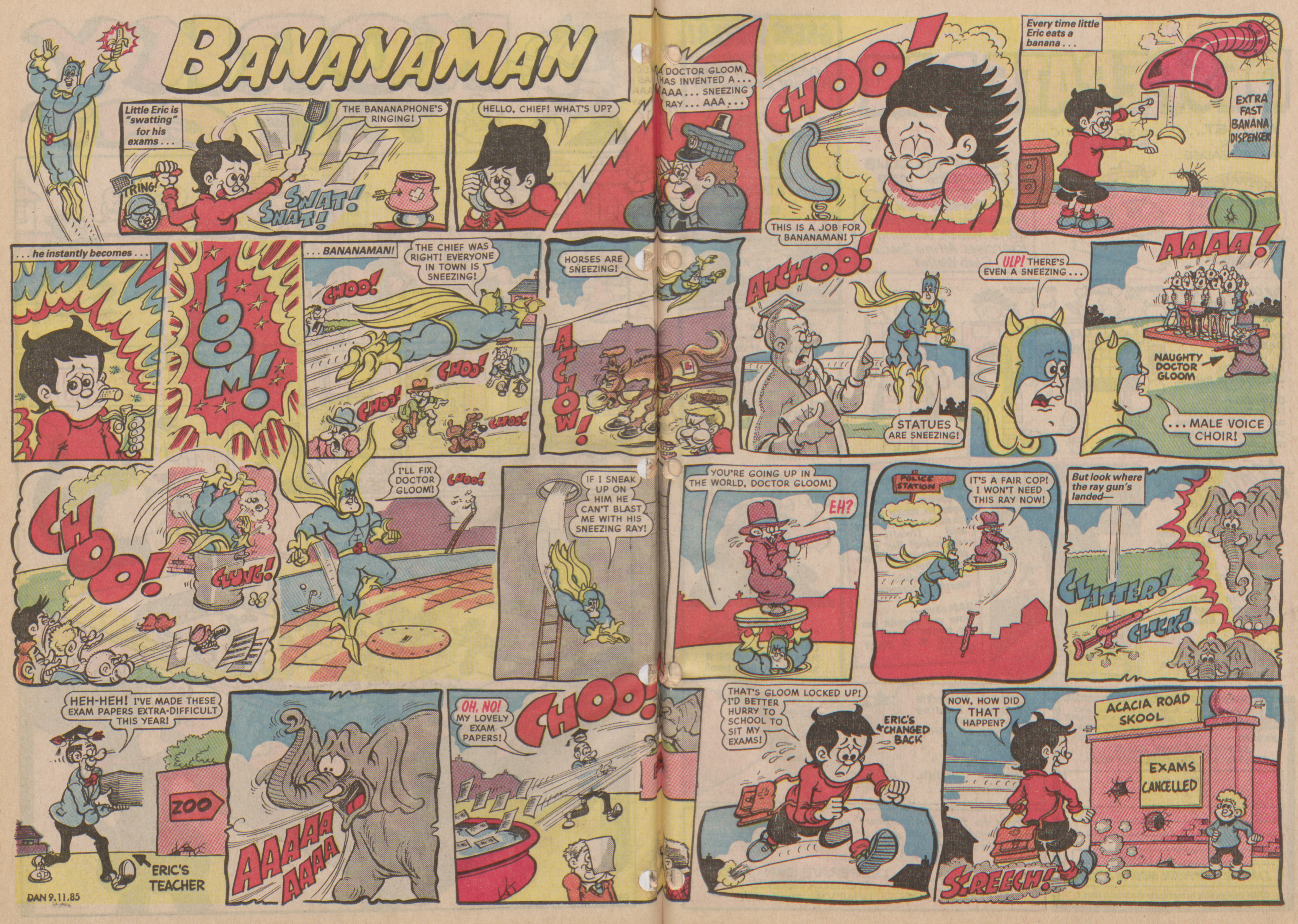 Bananaman - Dandy Issue No. 2294 - November 9th, 1985 - Doctor Gloom and the Sneeze Ray of Doom!