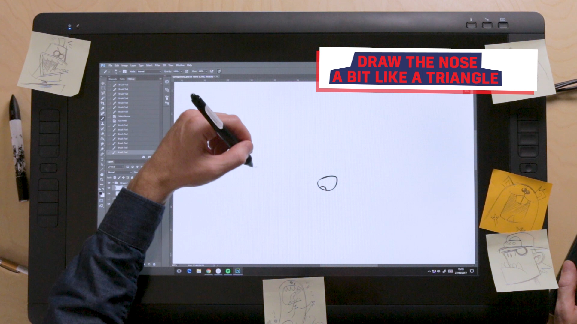 Ross drawing JJ's nose