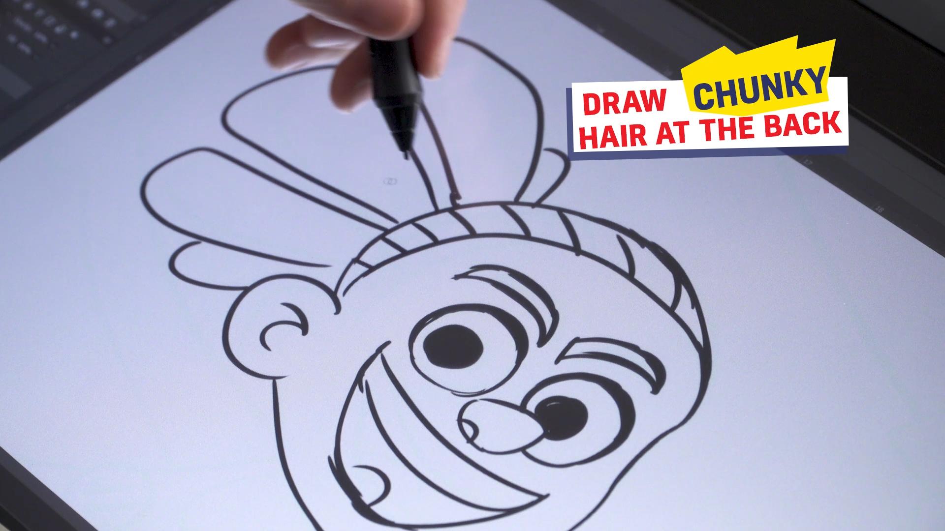 Ross drawing JJ's hair