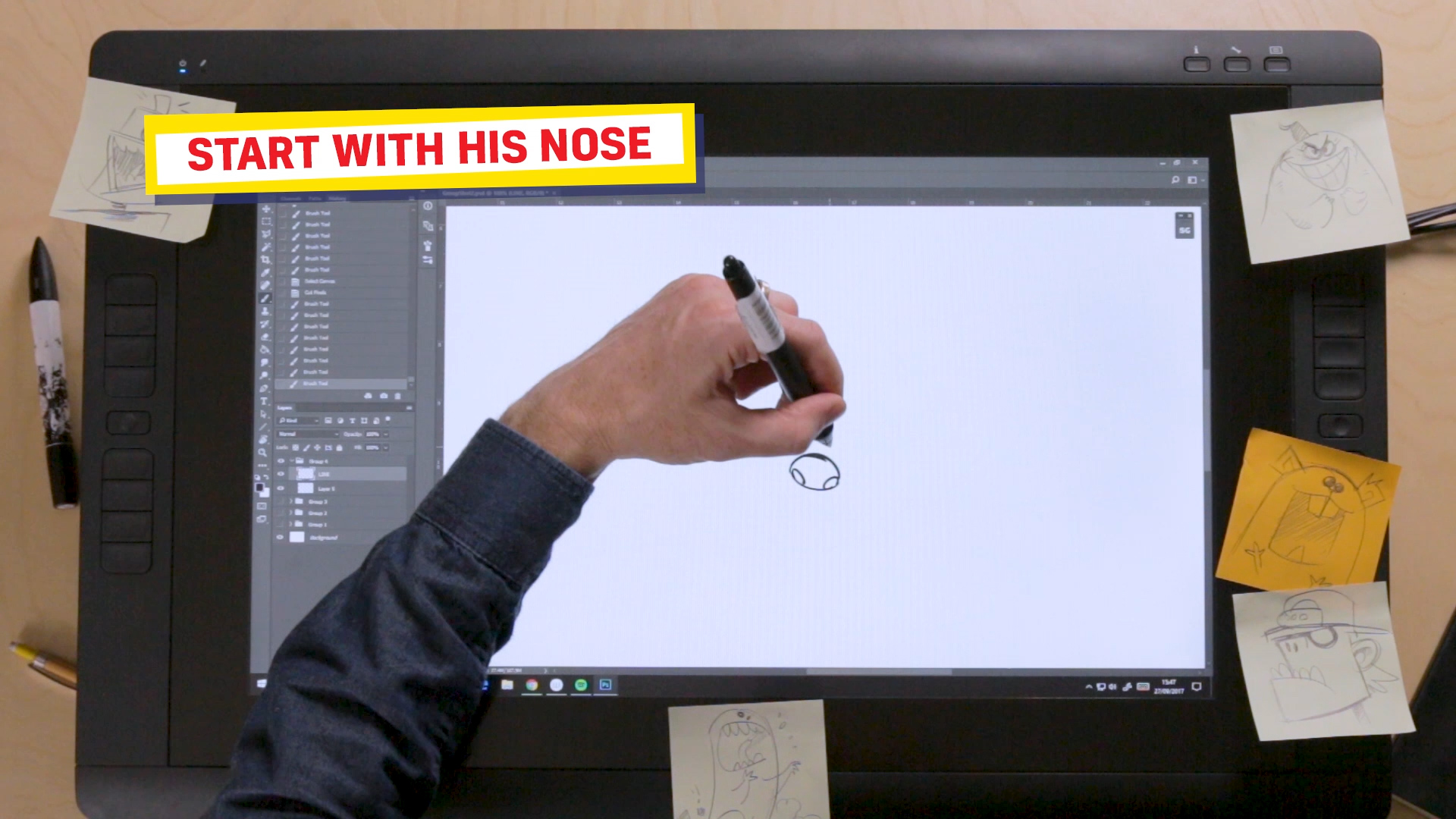 Ross drawing Pieface's nose