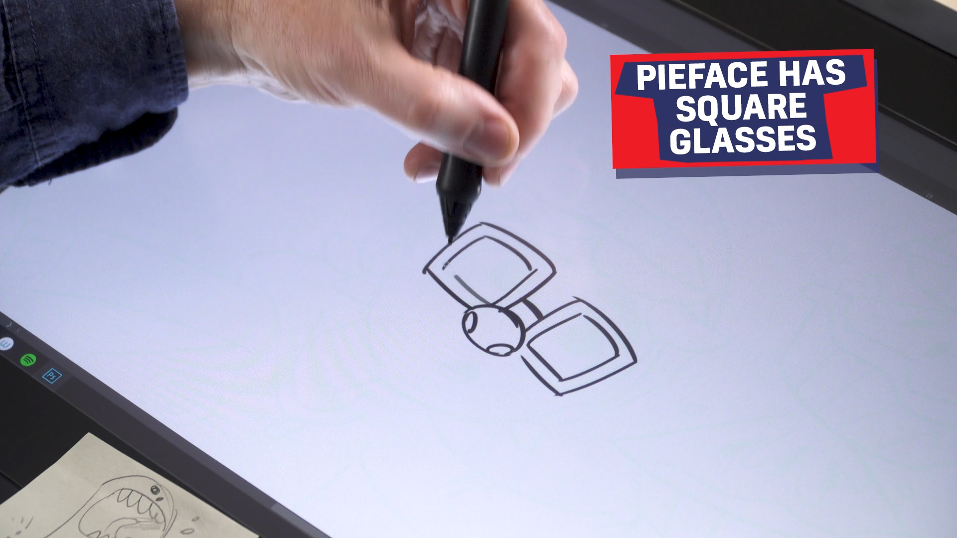 Ross drawing Pieface's glasses