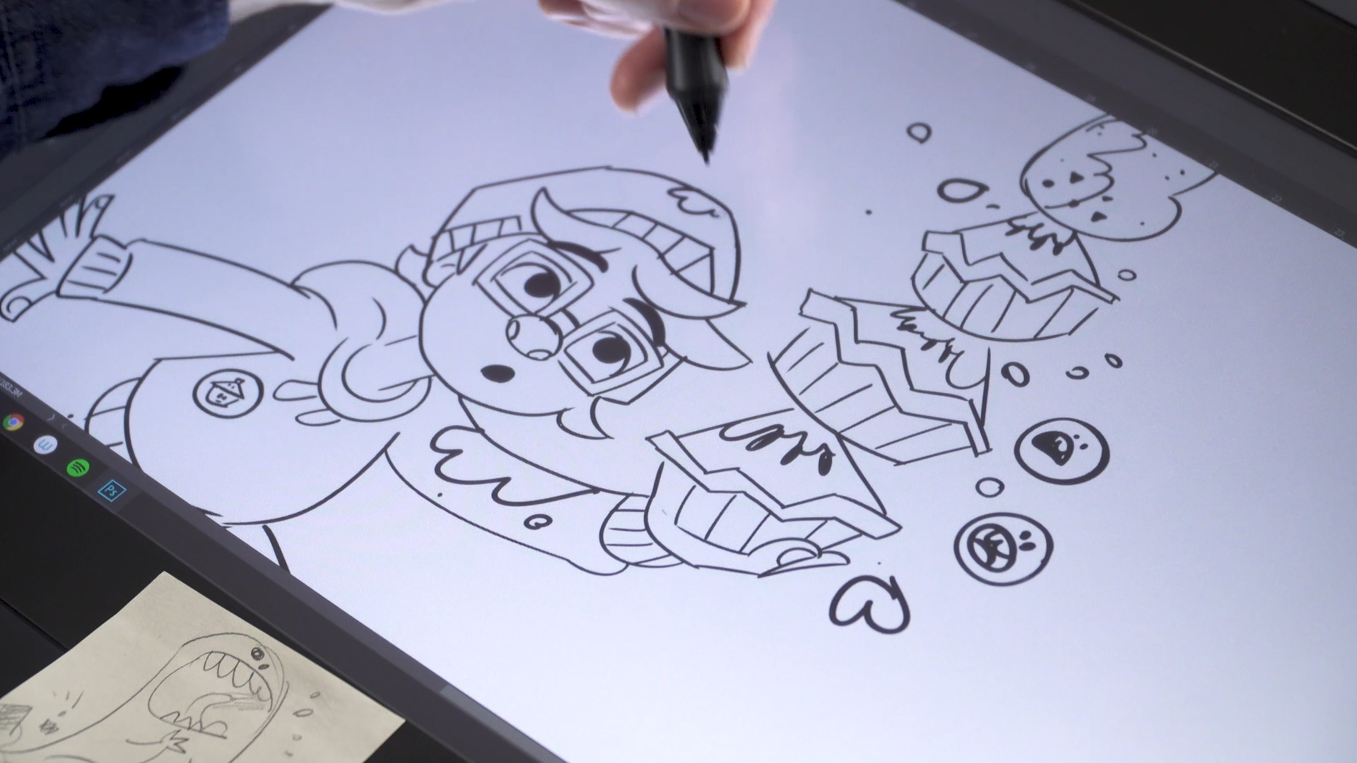 Ross adding touches to his drawing of Pieface