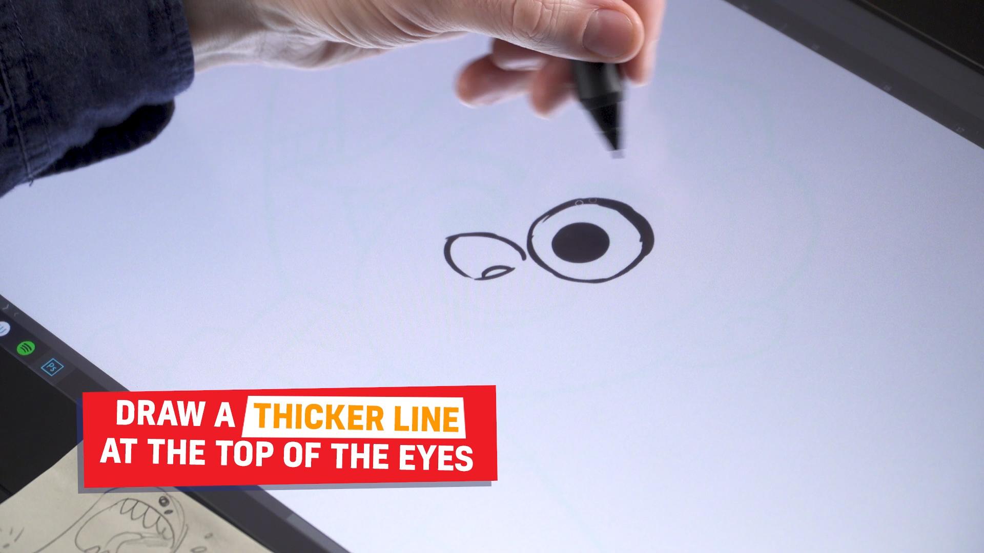 Ross drawing Rubi's eyes