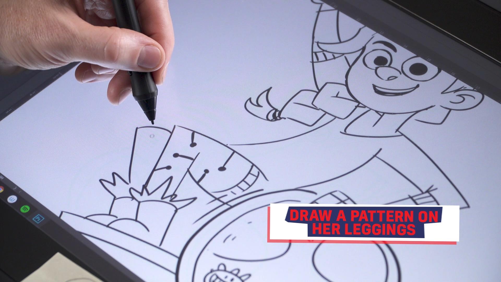 Ross drawing Rubi's leggings
