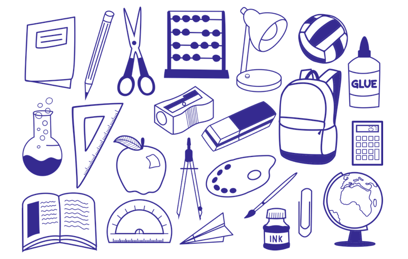 A variety of pencil case items