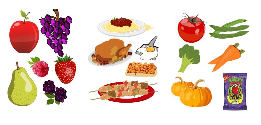 Fruit, vegetables and crisps