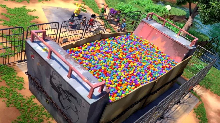 The half pipe is a now a ball pool