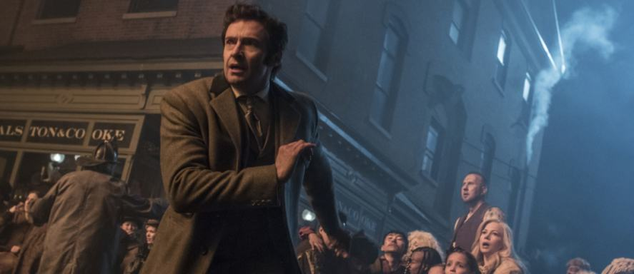 Hugh Jackman looks scared in a scene from The Greatest Showman