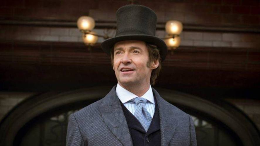 Hugh Jackman wears a top hat during a scene fromThe Greatest Showman